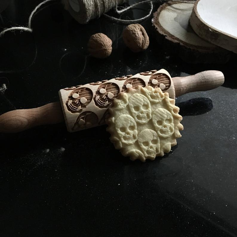 Pastrymade SKULLS KIDS ROLLING PIN Pastry Tool and Baking Utensil for Homemade Cookies
