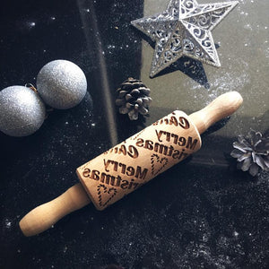 Pastrymade MERRY CHRISTMAS KIDS ROLLING PIN Pastry Tool and Baking Utensil for Homemade Cookies