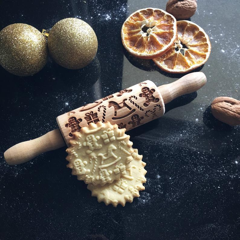 Pastrymade CHRISTMAS GIFTS KIDS ROLLING PIN Pastry Tool and Baking Utensil for Homemade Cookies
