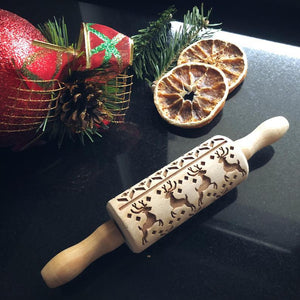 Pastrymade REINDEERS KIDS ROLLING PIN Pastry Tool and Baking Utensil for Homemade Cookies
