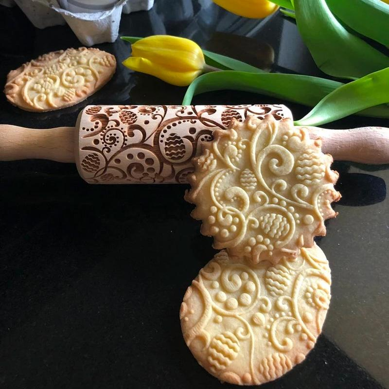 Pastrymade NEW EASTER EGGS KIDS ROLLING PIN Pastry Tool and Baking Utensil for Homemade Cookies