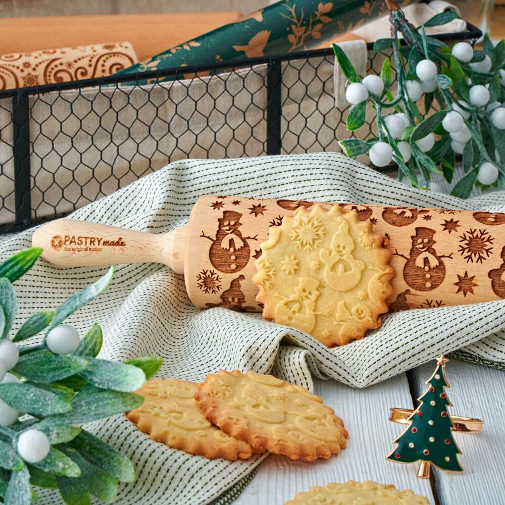 Pastrymade SNOWMEN ROLLING PIN Pastry Tool and Baking Utensil for Homemade Cookies
