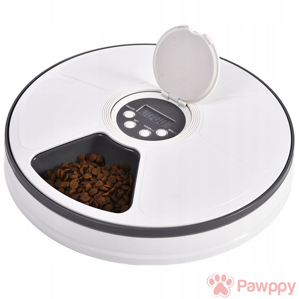www.mypawppy.com Automatic Pawppy Pet Feeder Stylish Pet Food Time Adjustable Easy Cleaning Food Bowl Graphite Gray