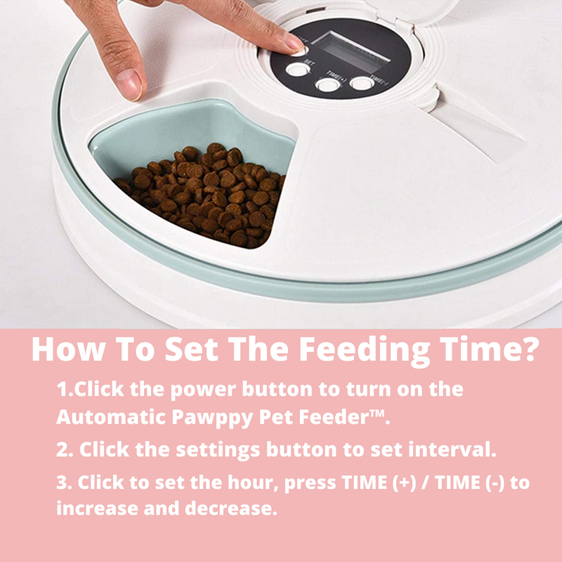 www.mypawppy.com Automatic Pawppy Pet Feeder Stylish Pet Food Time Adjustable Easy Cleaning Food Bowl