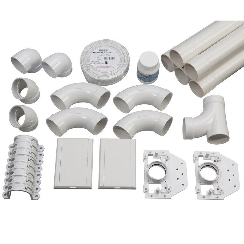 2 point ducted vacuum pipe installation kit