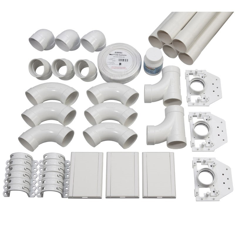 3 point ducted vacuum pipe installation kit