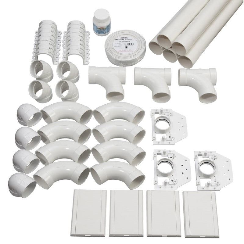 4 point ducted vacuum pipe installation kit