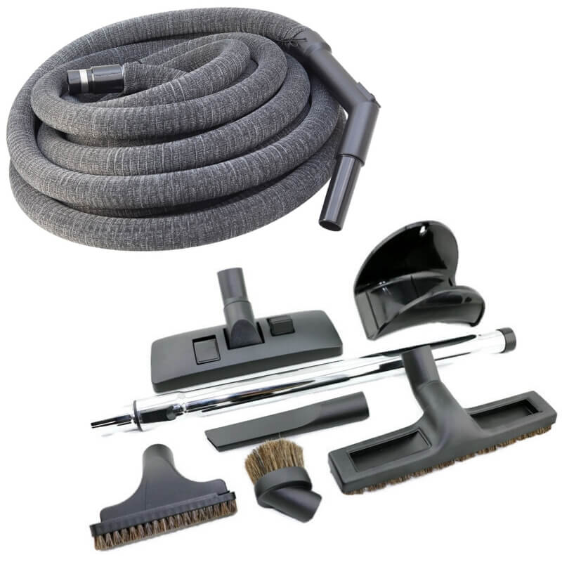 ducted vacuum hose and accessory kit with sock