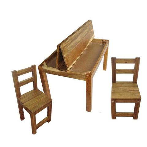 Hardwood Kids Study Desk and 2 Standard Chairs opening