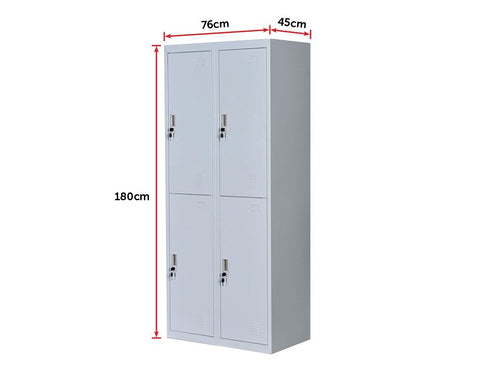 Four-Door Office Gym Shed Storage Locker - Grey dimensions