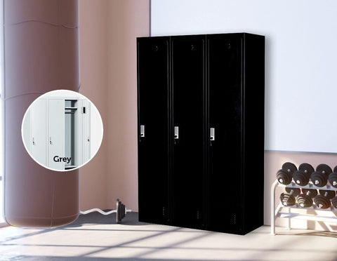 Three-Door Side by Side Office Storage Locker - Black lockers