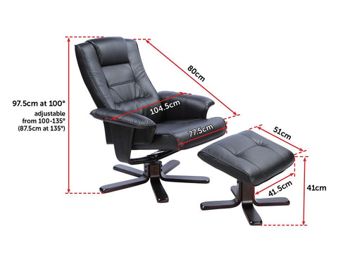 PU Leather Massage Chair Recliner Ottoman Lounge Remote - Black armchair