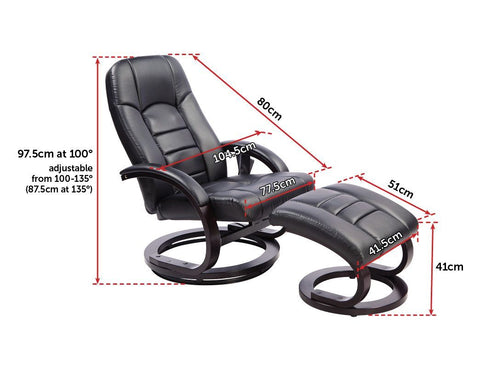 Leather Deluxe Massage Recliner Chair and Footrest - Black massage chair
