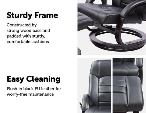 Leather Deluxe Massage Recliner Chair and Footrest - Black heavy duty chair