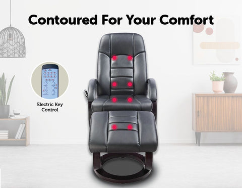 Leather Deluxe Massage Recliner Chair and Footrest - Black leather massage chair