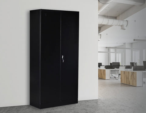 Two-Door Shelf Office Filing Storage Locker Cabinet Safe - Black office cabinet