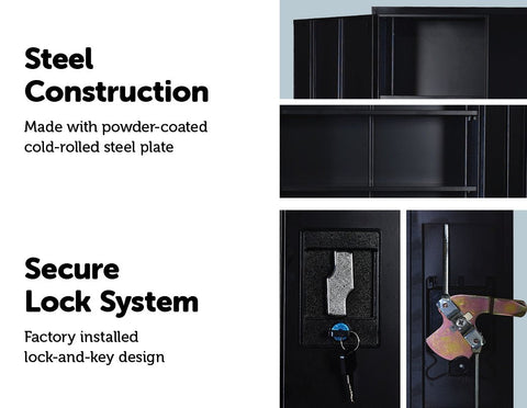 Two-Door Shelf Office Filing Storage Locker Cabinet Safe - Black locking cabinet