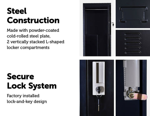 Two-Door Vertical Office Storage Lockers With Clothes Bar - Black gym locker