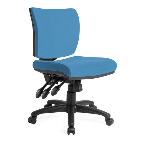 Apollo Mid-Back Task Chair blue 3 lever no arms