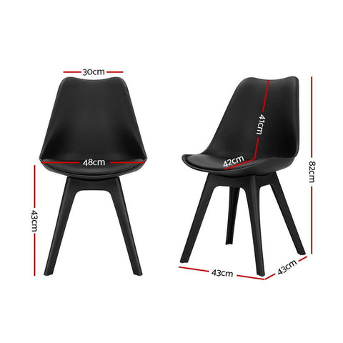 Eames DSW Replica Retro Padded Dining Chair x 4 - Black dimensions