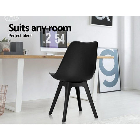 Eames DSW Replica Retro Padded Dining Chair x 4 - Black suits any room