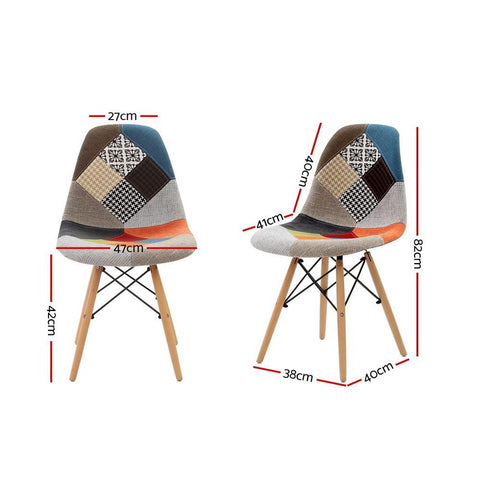 Eames 'Eiffel' DSW Replica Retro Beech Fabric Dining Chair x 4 - Multi Colour dimensions