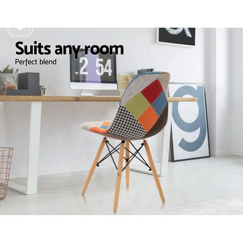 Eames 'Eiffel' DSW Replica Retro Beech Fabric Dining Chair x 4 - Multi Colour suits any room