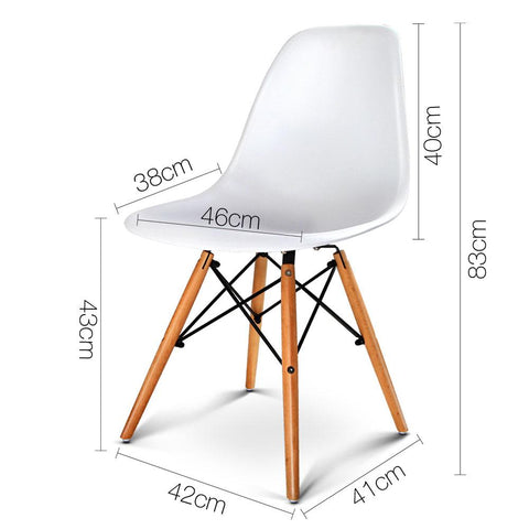 Artiss Set of 2 Replica Eames Eiffel Dining Chairs White dimensions