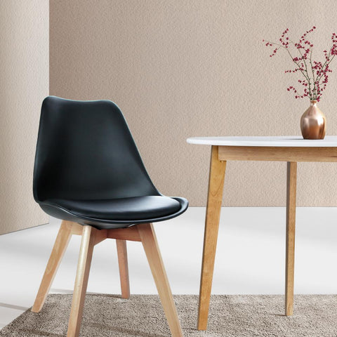 Artiss Eames 'Eiffel' DSW Replica Padded Dining Chair x 4 - Black dining furniture