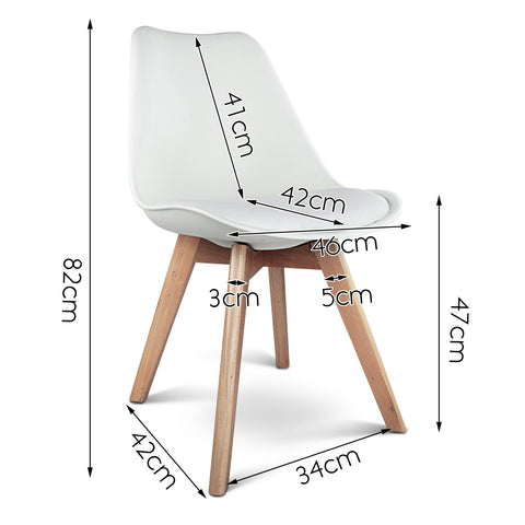 Eames 'Eiffel' DSW Replica Padded Dining Chair x 4 - White dimensions