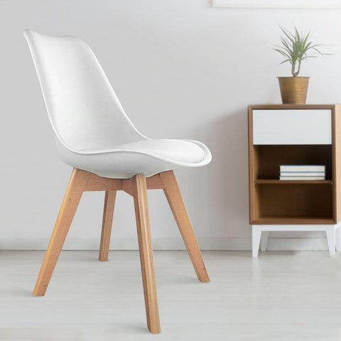 Eames 'Eiffel' DSW Replica Padded Dining Chair x 4 - White plastic chair