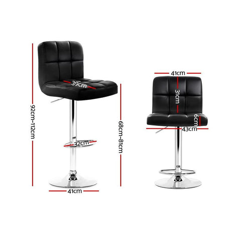 Bar Stools 'Noel' Leather With Swivel & Gas Lift x 4 - Black