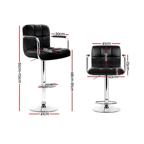 Bar Stools 'Noa' With Swivel & Gas Lift x 4 - Black