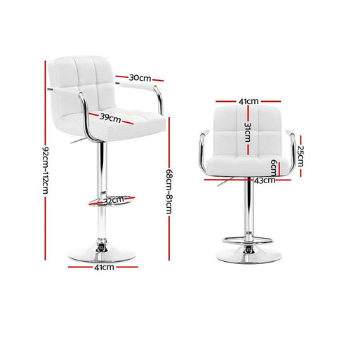 Bar Stool Leather With Swivel & Gas Lift x 4 - White