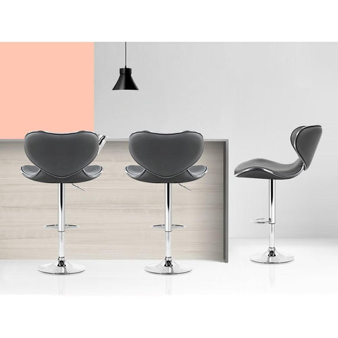 Bar Stools 'Dino' With Swivel & Gas Lift x 4 - Grey