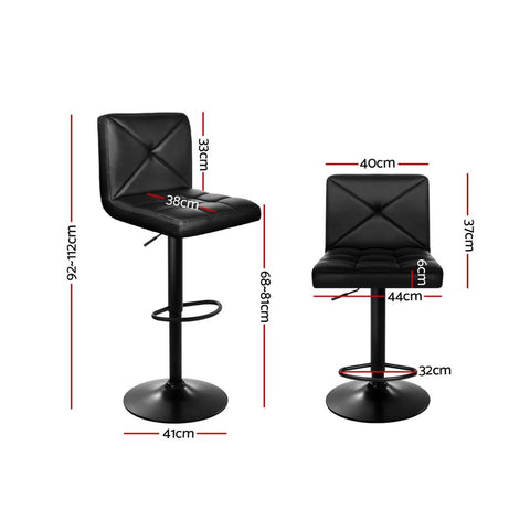 Bar Stool Artiss Deluxe PU Leather Chrome Base Gas Lift x 2 - Black
