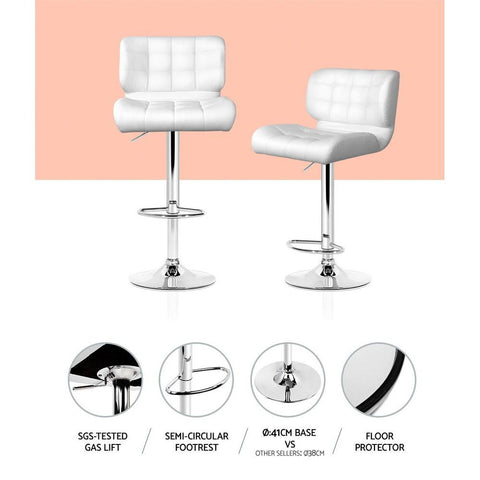 Bar Stools Leather With Gas Lift x 4 - White