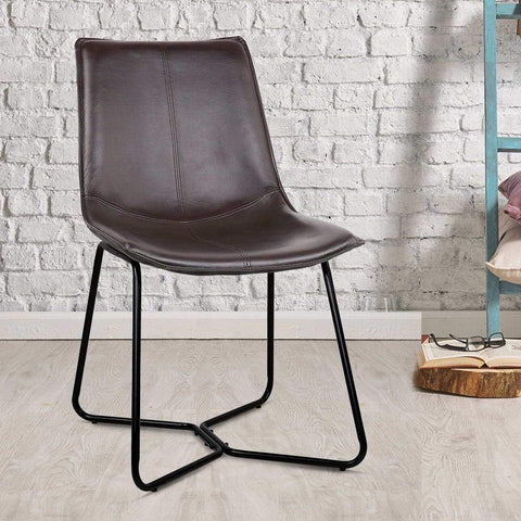 PU Leather Dining Chair x 2 - Walnut dining chair