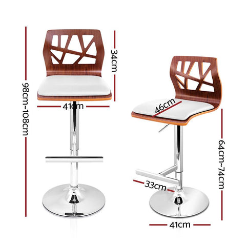 Bar Stools Wooden With Gas lift x 4 - White