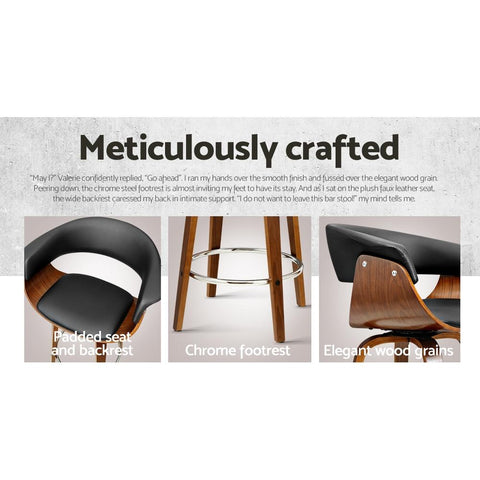 Wooden and  Leather Bar Stool