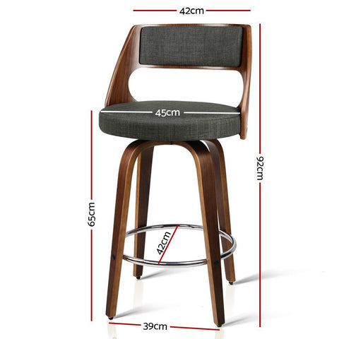Bar Stool Wooden With Swivel x 2 - Charcoal
