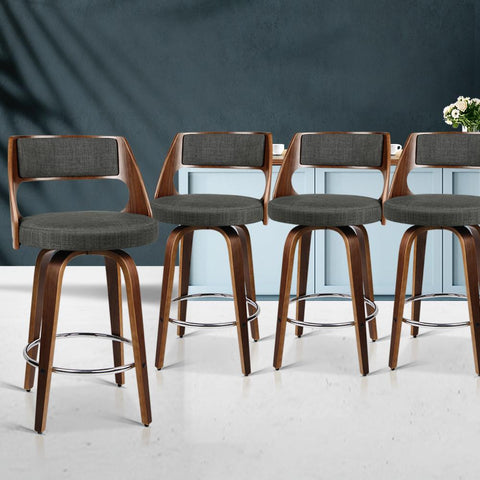 Bar Stools Wooden  With Swivel x 4 - Charcoal