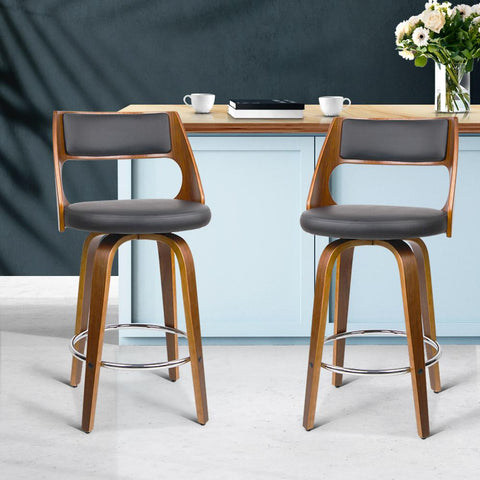 Wooden Bar Stools x 2 - Black Leather