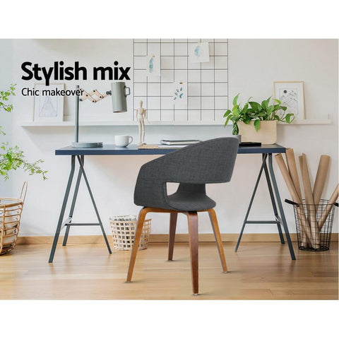 Timber and Fabric Dining Chairs x 2 - Charcoal office chair
