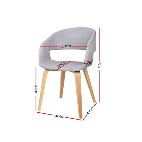 Wood and Fabric Dining Chairs x 2 - Light Grey dining chair