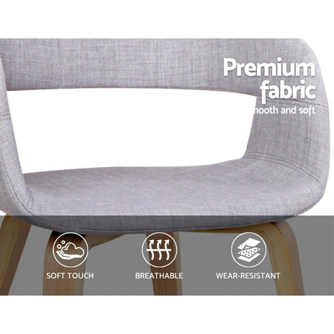 Wood and Fabric Dining Chairs x 2 - Light Grey chairs