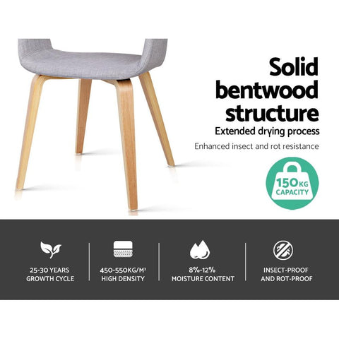 Wood and Fabric Dining Chairs x 2 - Light Grey fabric chair