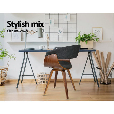 Wood and Fabric Dining Chair - Charcoal office chair