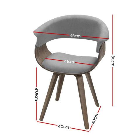 Artiss 'Miguel' Dining chairs Bentwood Chair Velvet Fabric Retro - Grey dimensions