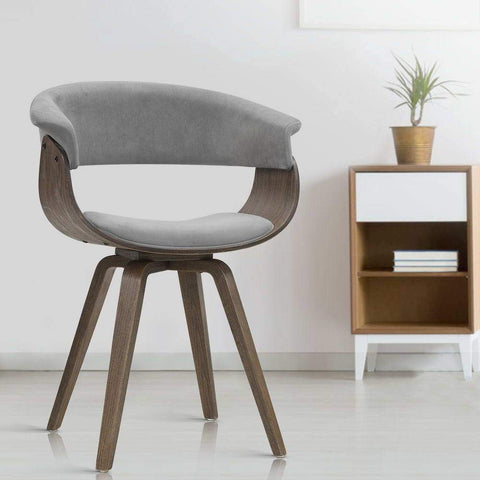 Artiss 'Miguel' Dining chairs Bentwood Chair Velvet Fabric Retro - Grey cool retro style